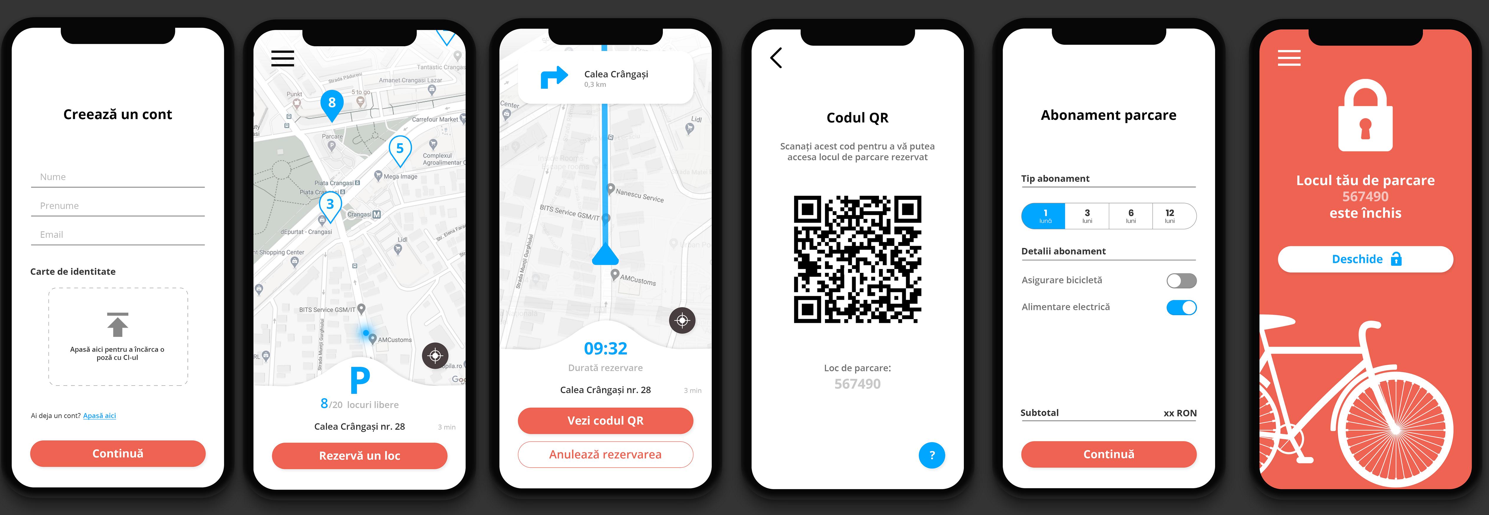 Ecrane aplicatie mobile parcari securizate rezidentiale pentru biciclete